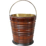 Antique Dutch Fruit Wood & Ebony Bucket