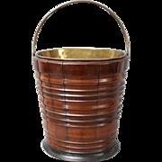 Antique Dutch Fruit Wood & Ebony Bucket / Wine Cooler / Jardiniere / Teestool