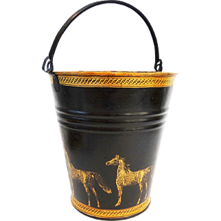 Early English Equestrian Japanned Pail Bucket Jardiniere