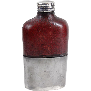 Leather Whiskey Flask, G & J W Hawksley, England