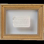 18th-Century Floating Vellum Framed French Document