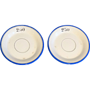 French Franc Bistro Cafe Tab Plates, Pair
