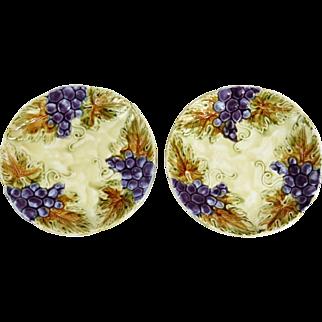 French Grape Majolica Plates, Pair
