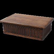 Antique Oak Gothic Bible Document Box, English