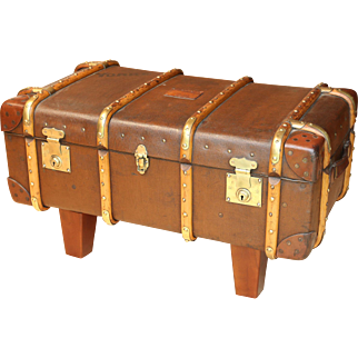 Antique Leather Campaign Trunk Coffee Table