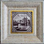 19th-Century Dutch Delft Polychrome Tile, Framed, Tower
