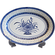 Chinoiserie Chinese 'Lucky Rice' Pattern Platter, Blue & White