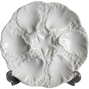 White Majolica Oyster Plate with Starfish Well