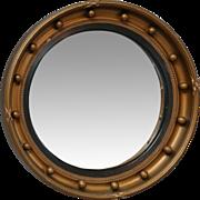 1930, English Gold Leaf Convex Bullseye Mirror