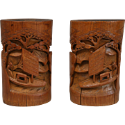Chinese Carved Bamboo Brush Pots, Pair