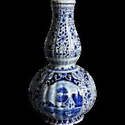 19th-Century Dutch Delft Double Gourd Vase