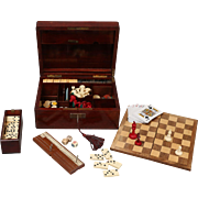 19th-Century French Mahogany Games Compendium Box, Lock & Key