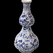 Large Antique Double Gourd Delft Vase