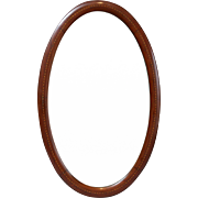 Antique English Beveled Oak Wall Mirror with Inlay