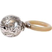 English Silver Baby Rattle with Bell