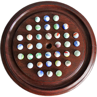 Early English Solitaire Pub Game w/ Marbles