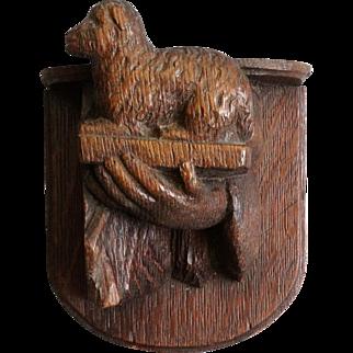 Carved Oak Lamb Figural Wall Bracket