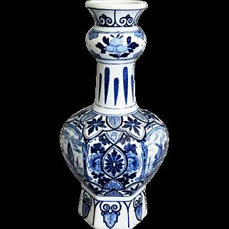 Continental Delft Chinoiserie Hexagonal Vase