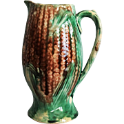 Antique Majolica Corn Pitcher, England - Red Tag Sale Item