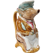 French Onnaing Majolica Pig Pitcher Maitre D'Hotel