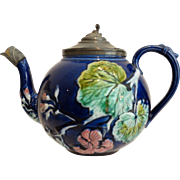 Cobalt Majolica Teapot w/Pewter, 19th-Century English