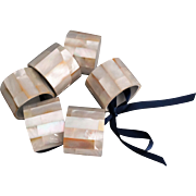 English Mother of Pearl Napkin Rings, Set of 6