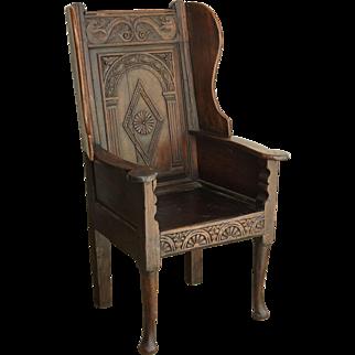 Antique Georgian Oak Wainscot Manor Chair