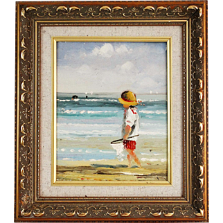 Child by the Sea Side Oil Painting