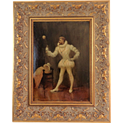 Courtier With Stick & Ball Game Antique Oil on Board