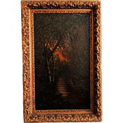 Moonlit Night Oil Painting, Continental, Oil on Canvas