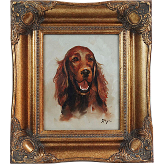 Spaniel Sporting Dog Study Oil on Canvas
