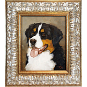 Oil Painting On Panel, Bernese Mountain Dog, Baroque Silver Frame