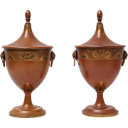 Antique Continental Tole Ware Chestnut Urns, Pair