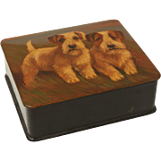 English Papier Mache Box with Pair of Terrier Dogs