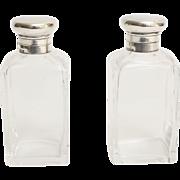 Art Deco Sterling Silver & Crystal Perfume Bottles, Pair