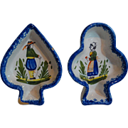 Quimper Butter Pats, Spade & Club Shapes, French Faience