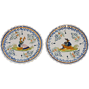 Early French Quimper Plates, Set of 2