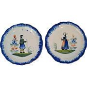Quimper Petite French Faience Plates, Set of 2 Butter Pats