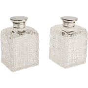 Silver & Crystal Perfume Bottles, Pair