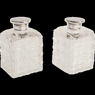 Silver & Crystal Perfume Bottles, Pair