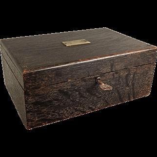 Antique Tiger Oak Box with Lock & Key