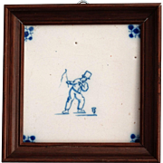 Antique Dutch Delft Tile, Framed, 19th-Century