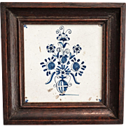 Antique Dutch Delft Tile, Framed, 17th-Century