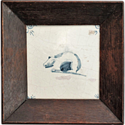Antique Dutch Delft Tile, Polar Bear, Framed, 17th-Century