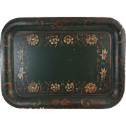 Large Antique Continental Tole Tray, Hand Painted, Free Domestic Shipping