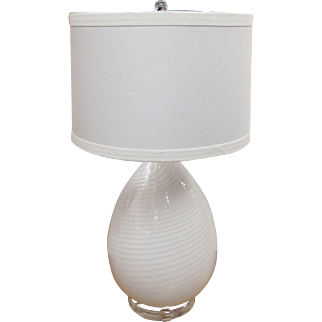 Murano Vetri Egg Shaped Table Lamp on Lucite Base