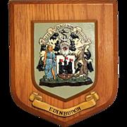 Edinburgh Scotland Wood Crest Hanging Wall Plaque