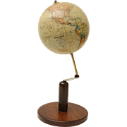Continental World Globe on Walnut Stand