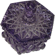 Czecho Slovakia Octagonal Cut Amethyst Glass Trinket Box