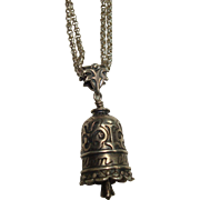 """Sterling Mom Bell Pendant and Double Belcher 16"""" Chain"""